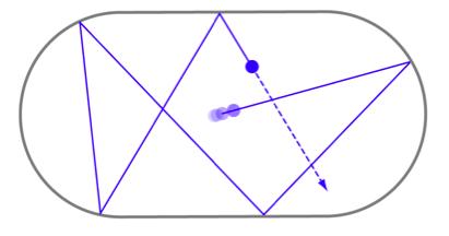 billiard trajectory on an oval table